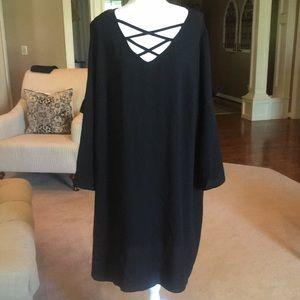 Como Black Plus Sz Black Poly-Spandex Blend Dress